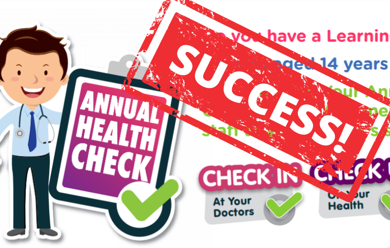Annual Health Checks campaign artwork by Grapevine with a SUCCESS stamp on it in red