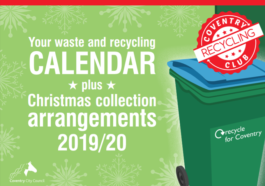 Bin collection calendar cover