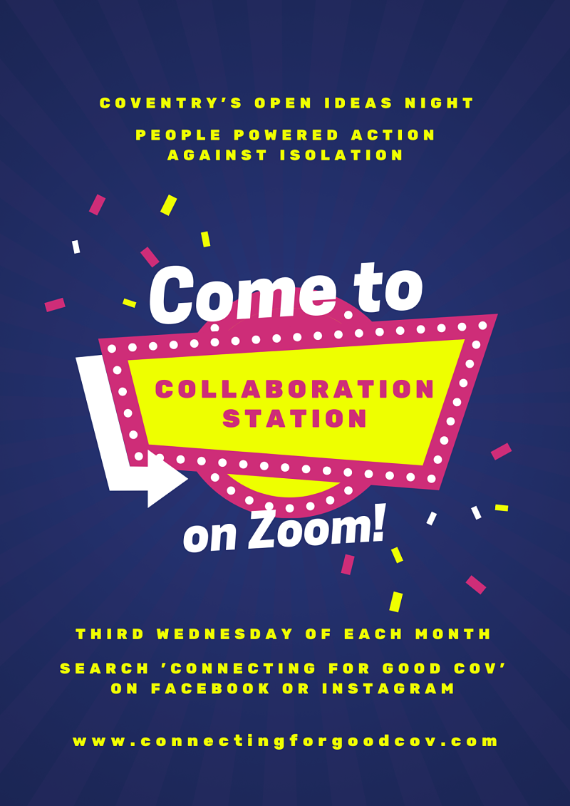 Poster describes how to join Collaboration Station each month online