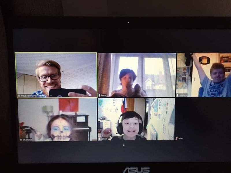 Paul from Teenvine and four young people together on a Zoom online photography course session during lockdown