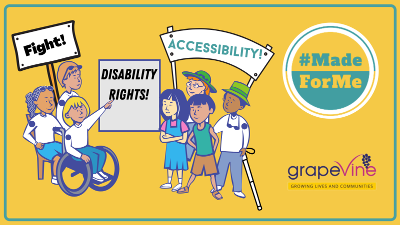 An illustration of people of different abilities holding banners that campaign for accessibility and disability rights