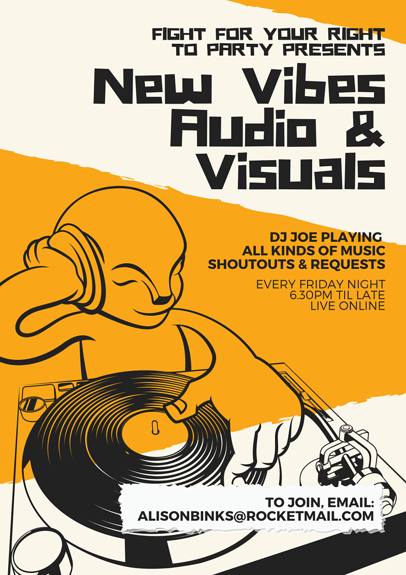 Poster describes the New Vibes audio and visuals DJ event happening every Friday online