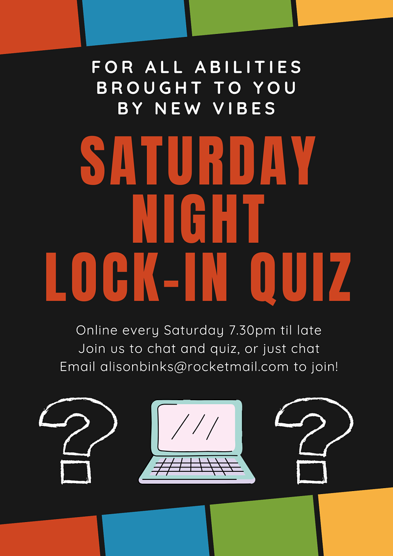 Posters describing New Vibes Saturday night lock-in quiz happening every week online