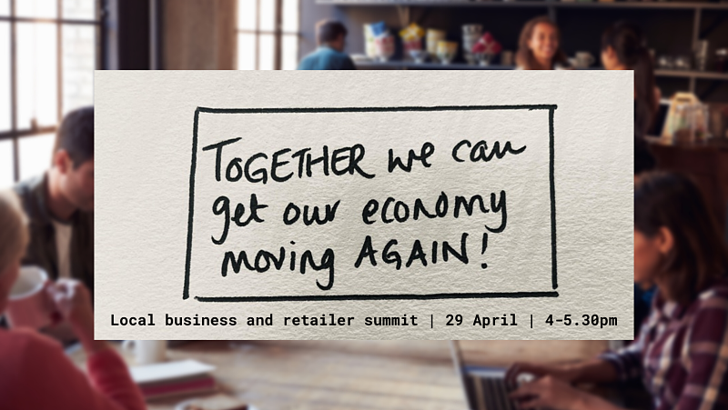 A handwritten note regarding the business summit appears in front of a blurry background of a busy cafe