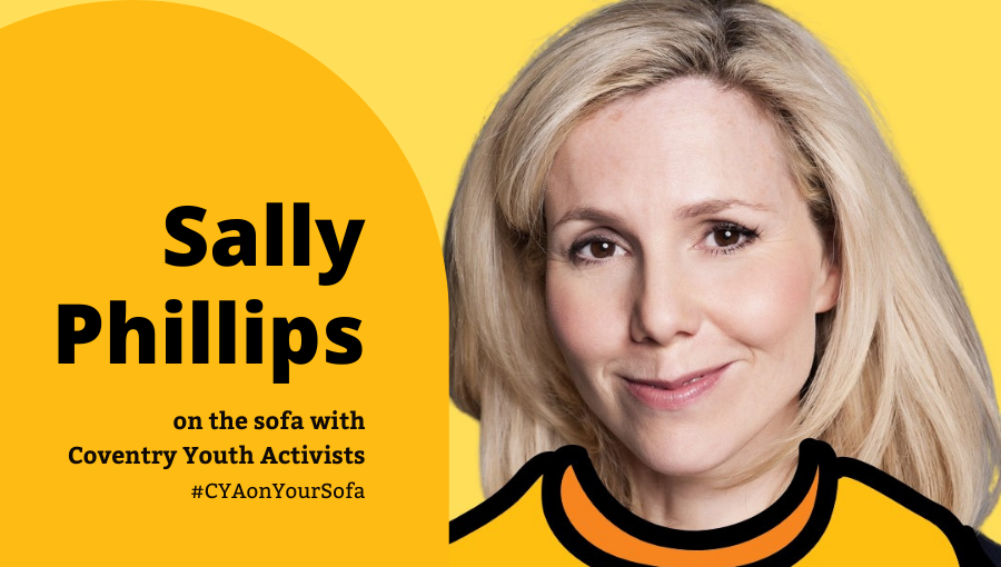 Sally Phillips on the sofa with Coventry Youth Activists