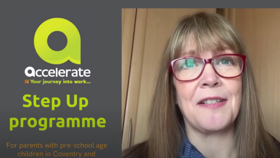 Screenshot of a woman wearing glasses talking the camera about Accelerate's Step Up programme for parents of pre-school age children to get back into work
