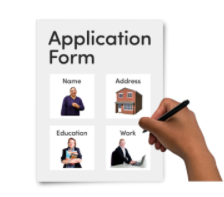A form reads 'Application Form' with different options and a hand holding a pen hovering over the page