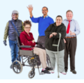 A group of people with different disabilities stand together waving and smiling at the camera