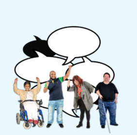 Cartoon speech bubbles are behind a group of people of different abilities