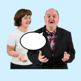 A cartoon speech bubble is between a man and a woman who are talking