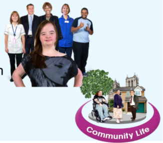 A community is represented by photos of people and cartoons of places plus the words 'Community Life'
