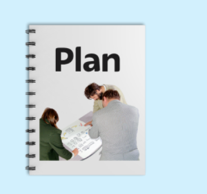 The word 'Plan' is on a notebook