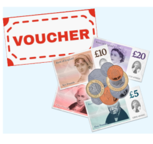 Illustrations of a voucher, coins and various denomination notes