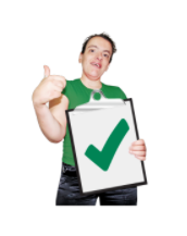 A man gives a thumbs up as he holds a clip board showing a big green tick