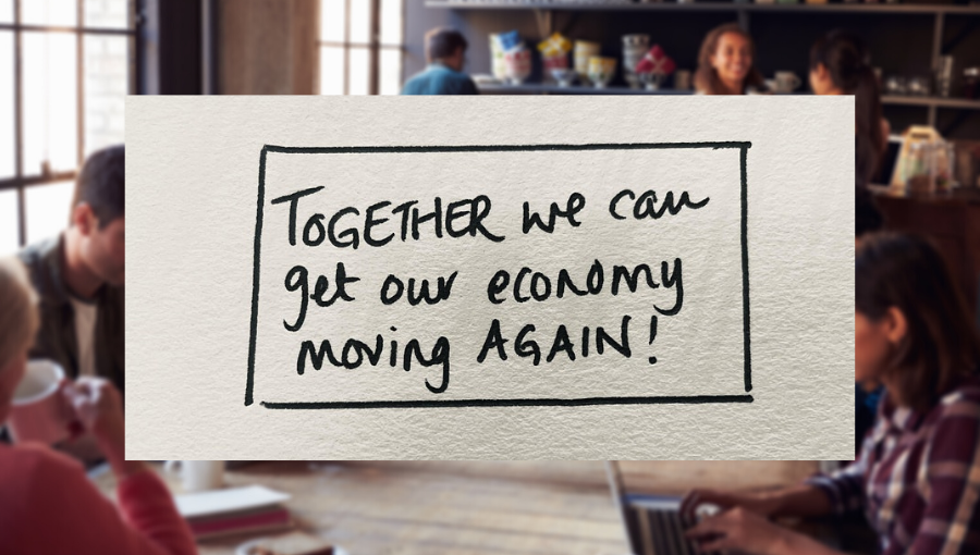 "A hand written note reads ""Together we can get our economy moving again!"""