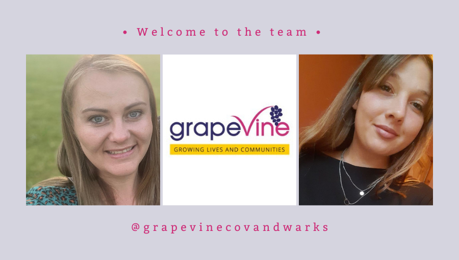 A photo collage shows new starters Kelly and Sophie with the Grapevine logo in the centre. The words 'Welcome to the team' and @grapevinecovandwarks are above and below the collage
