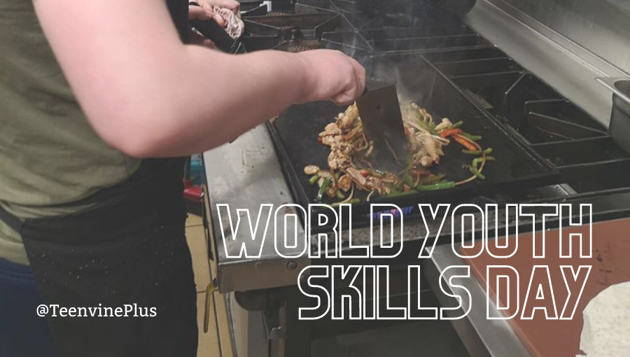 A young man fries chillies in a pan with the words 'World Youth Skills Day' across the image