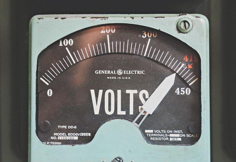 Volts shown on a gauge